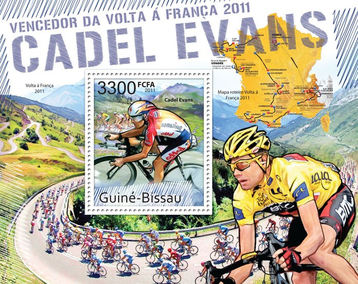 Winner of Tour de France 2011 - Cadel Evans. - Issue of Guinée-Bissau postage stamps