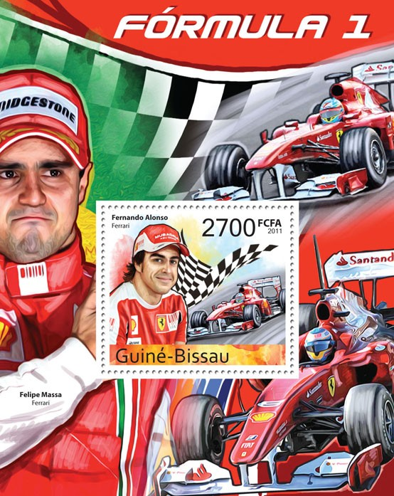 Formula 1 - ( Fernando Alonso ), III. - Issue of Guinée-Bissau postage stamps