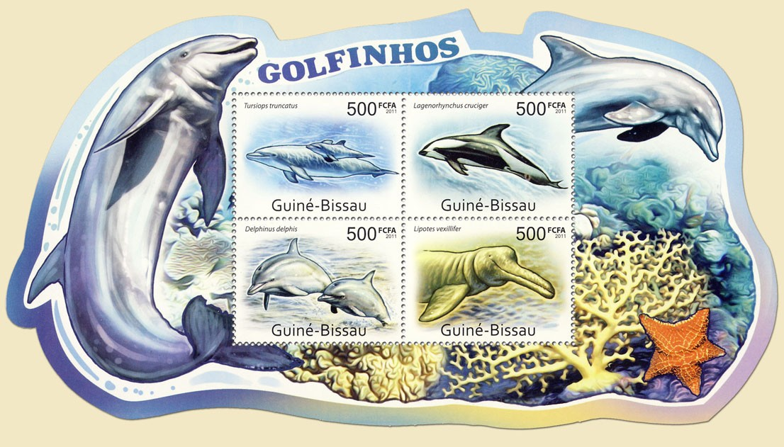 Dolphins, (Tursiops truncatus, Lipotes vexillifer). - Issue of Guinée-Bissau postage stamps