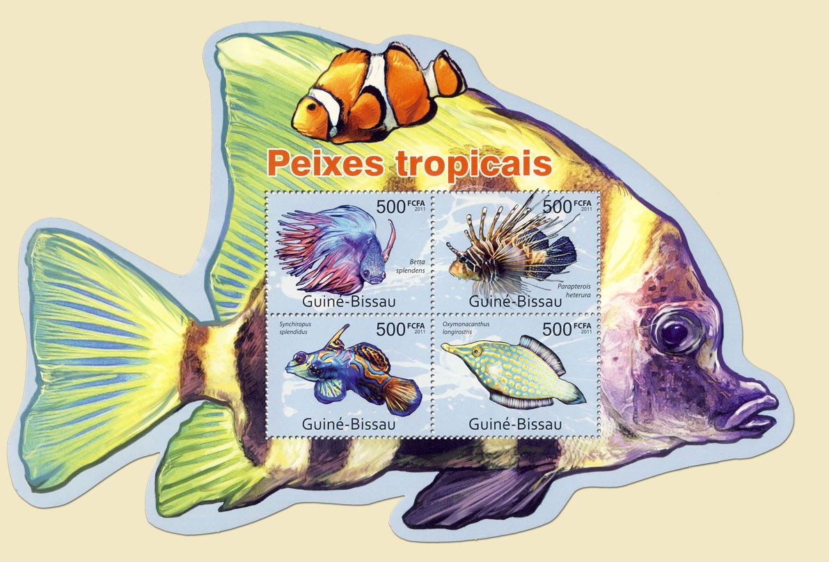 Tropical Fishes,  (Betta splendens, Oxymonacanthus longirostris). - Issue of Guinée-Bissau postage stamps