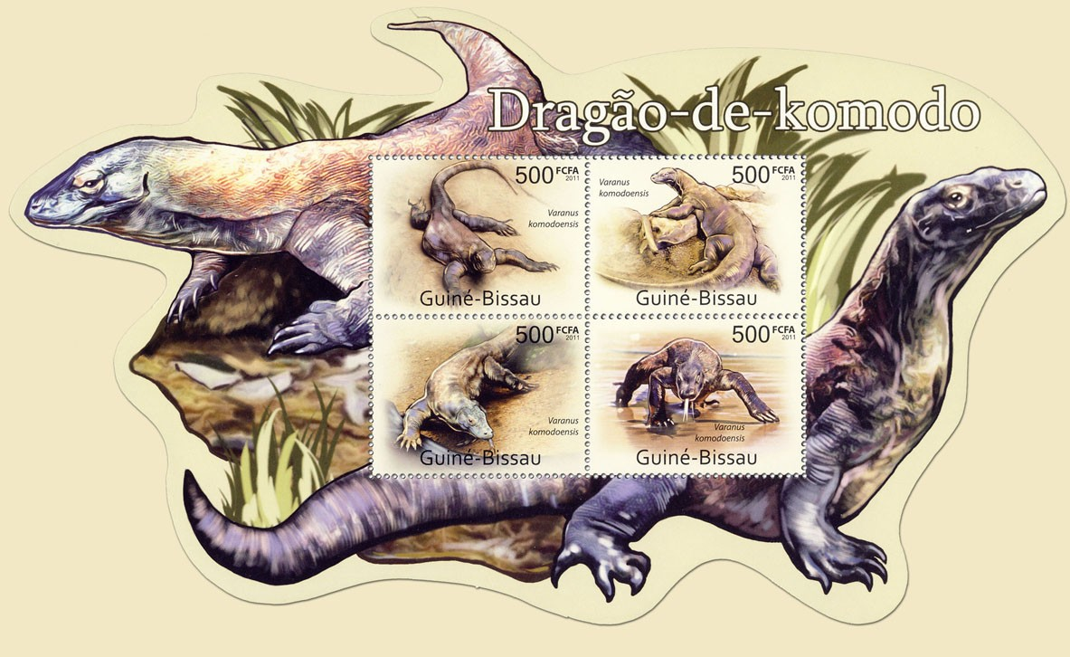 Komodo Dragons, (Varanus komodoensis). - Issue of Guinée-Bissau postage stamps