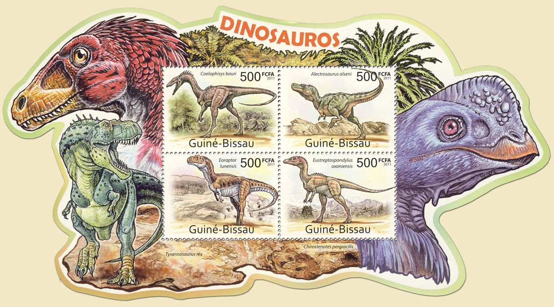 Dinosaurs,  (Coelophisys bauri, Eustreptospondylus oxoniensis). - Issue of Guinée-Bissau postage stamps