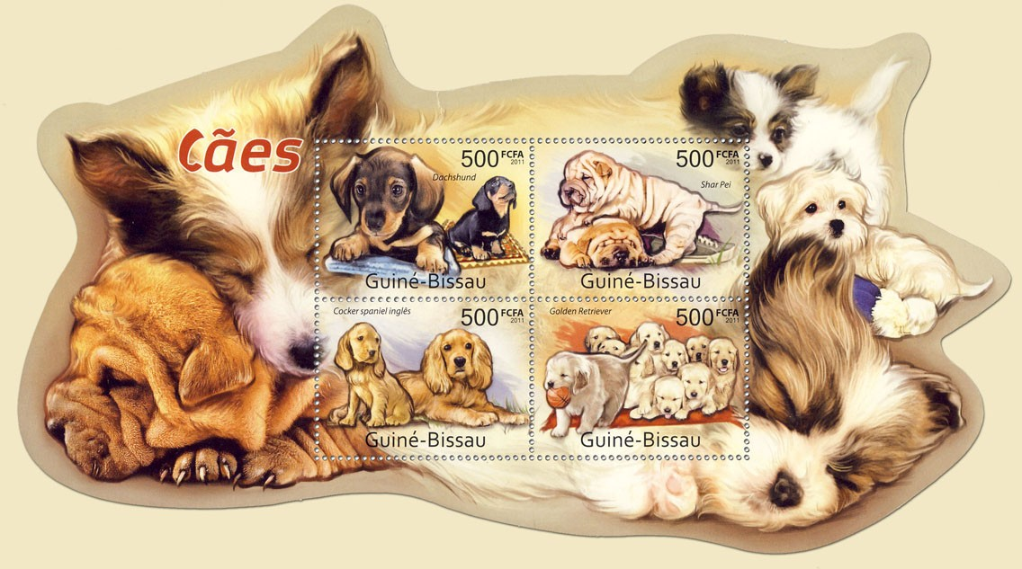 Dogs, (Dachund, Golden Retriever). - Issue of Guinée-Bissau postage stamps