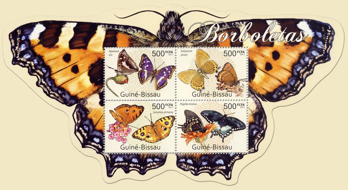 Butterflies, (Apatura iris, Papilio Troilus). - Issue of Guinée-Bissau postage stamps