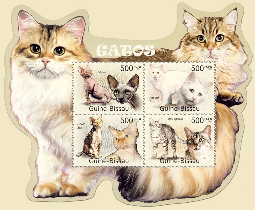 Cats, (Esfinge, Mau egipcio). - Issue of Guinée-Bissau postage stamps