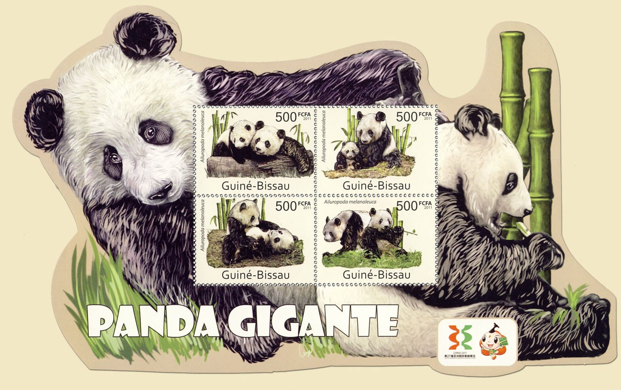 Giant Pandas, (Ailuropoda melanoleuca). - Issue of Guinée-Bissau postage stamps
