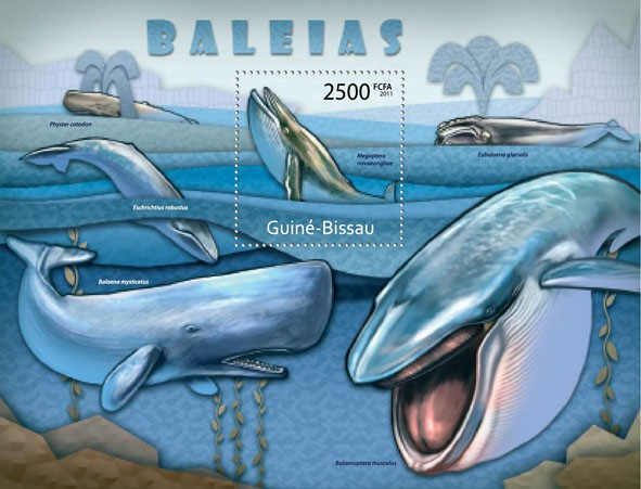 Whales, (Megaptera novaeangliae). - Issue of Guinée-Bissau postage stamps