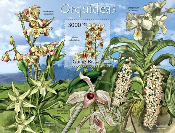 Orchids, (Phaius tuberculosus). - Issue of Guinée-Bissau postage stamps