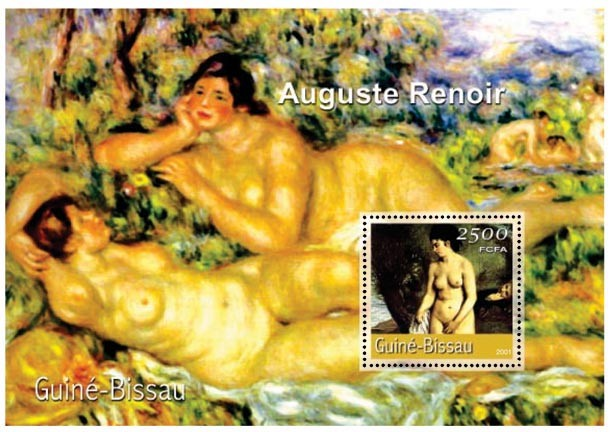 Auguste Renoir (femme nue)     2500 FCFA S/S - Issue of Guinée-Bissau postage stamps