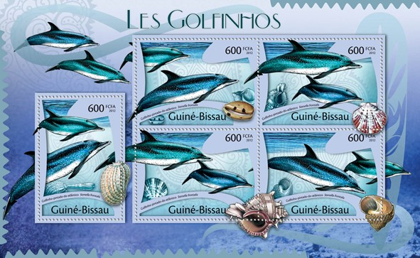 Dolphins, (Stenella frontalis). - Issue of Guinée-Bissau postage stamps