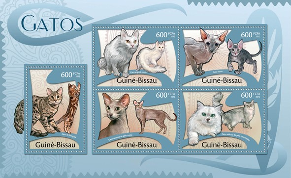 Cats, (Gato de Bengalia, Gato Asiatico). - Issue of Guinée-Bissau postage stamps