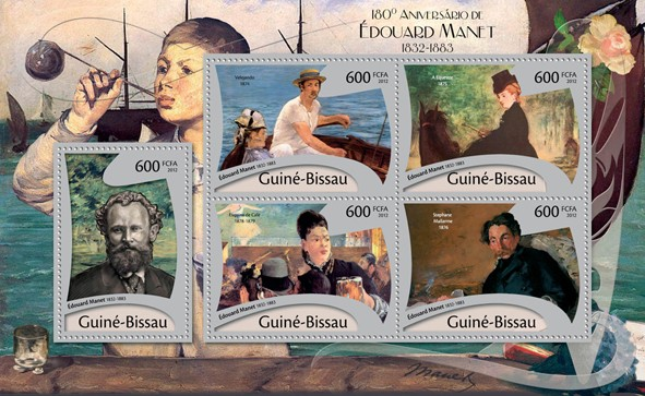 180th Anniversary of Eduard Manet, (1832-1883), Paintings. - Issue of Guinée-Bissau postage stamps