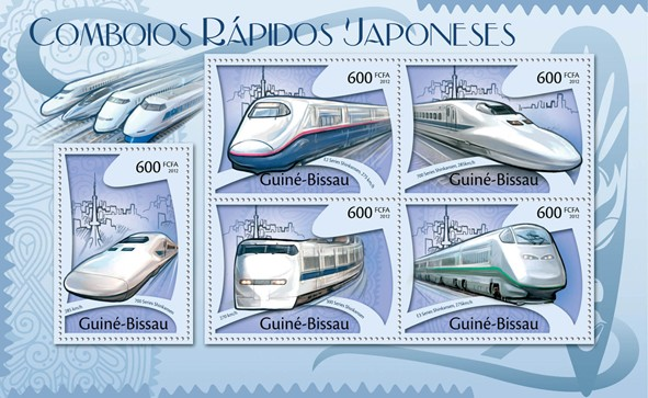 Japanese Speed  Tarins, (700 Serie Shinkansen, E3). - Issue of Guinée-Bissau postage stamps
