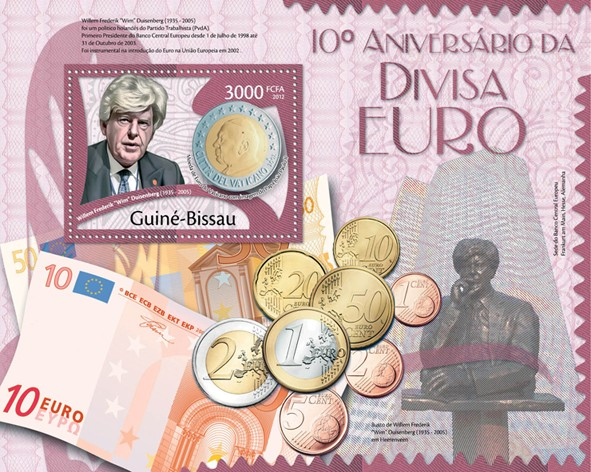 10th Anniversary Euro currency, (Willem Frederic 1935-2005). - Issue of Guinée-Bissau postage stamps