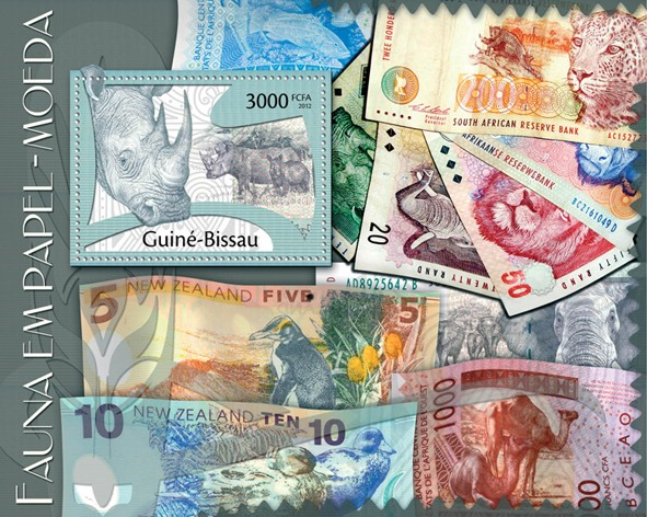 Paper Money, (Fauna). - Issue of Guinée-Bissau postage stamps