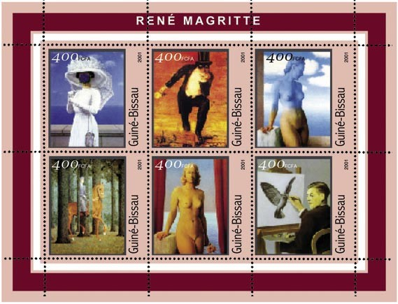 Rene Magritte    6 x 400 FCFA - Issue of Guinée-Bissau postage stamps