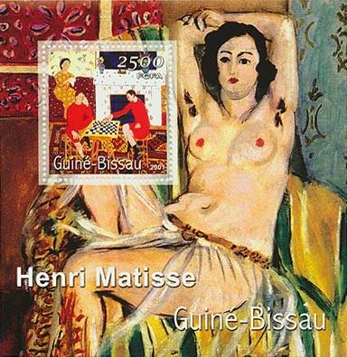 Henri Matisse (joureus d` echecs)      2500 FCFA S/S - Issue of Guinée-Bissau postage stamps