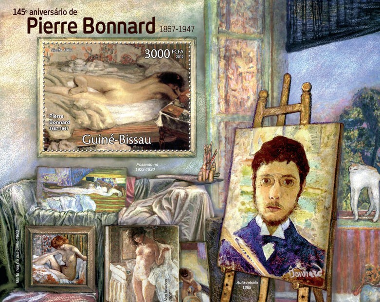 Paintings of Pierre Bonnard, (145th Anniversary: 1867-1947). - Issue of Guinée-Bissau postage stamps
