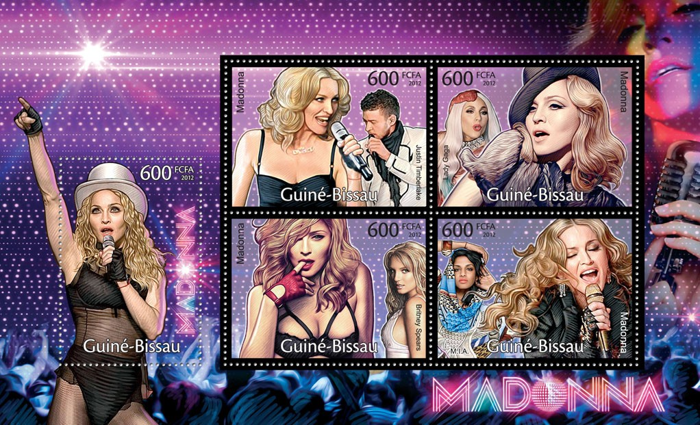 Madonna, (Justin Timberlake, M.I.A.). - Issue of Guinée-Bissau postage stamps