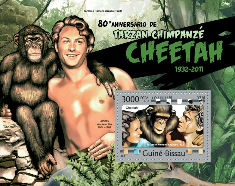 Chimpanzee Cheetah in Tarzan, (80th Anniversary). - Issue of Guinée-Bissau postage stamps