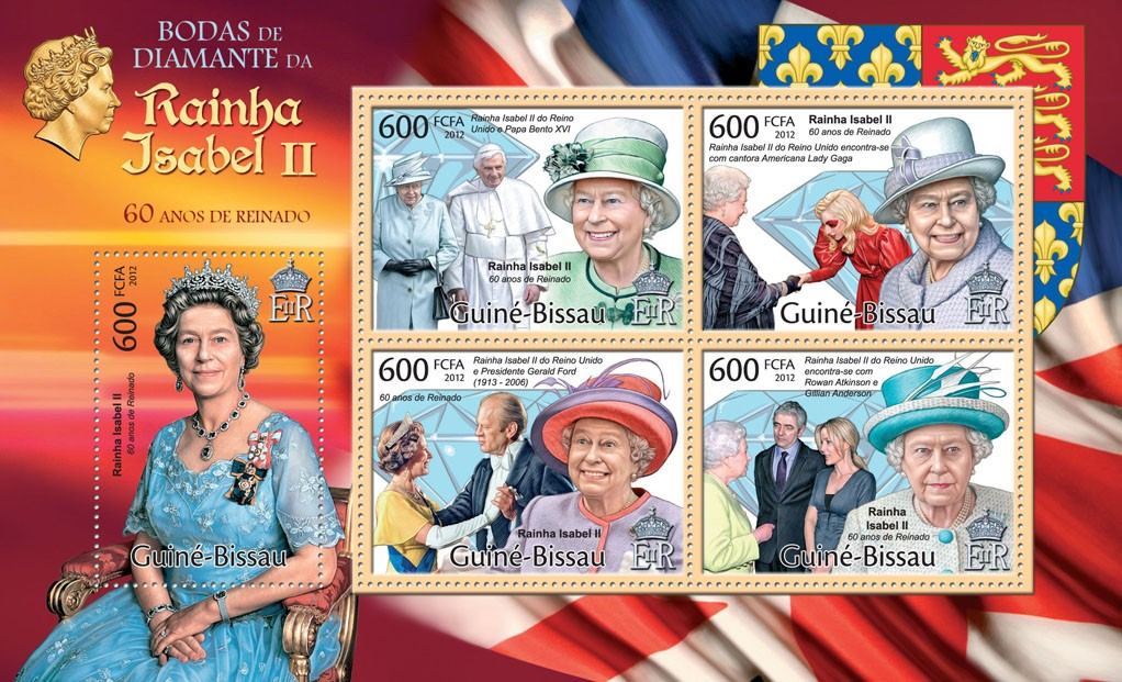 Queen Elizabeth - Diamond Jubilee, (Pope Benedict XVI). - Issue of Guinée-Bissau postage stamps