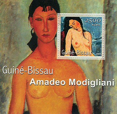 Amadeo Modigliani (femme nue,fond vert) 2500 FCFA S/S - Issue of Guinée-Bissau postage stamps