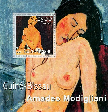 Amadeo Modigliani (femme nue,fond bleu) 2500 FCFA S/S - Issue of Guinée-Bissau postage stamps