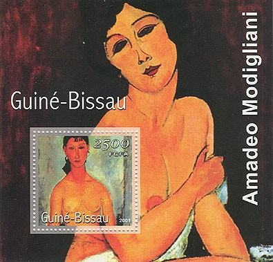 Amadeo Modigliani (femme nue,fond noir) 2500 FCFA S/S - Issue of Guinée-Bissau postage stamps
