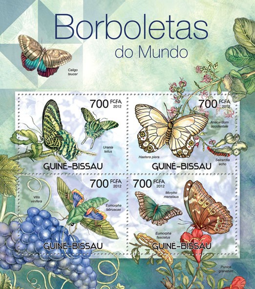 Butterflies of the World, (Urania leilus, Morpho menelaus). - Issue of Guinée-Bissau postage stamps