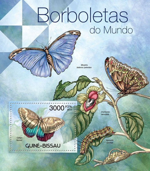 Butterflies of the World, (Caligo teucer). - Issue of Guinée-Bissau postage stamps