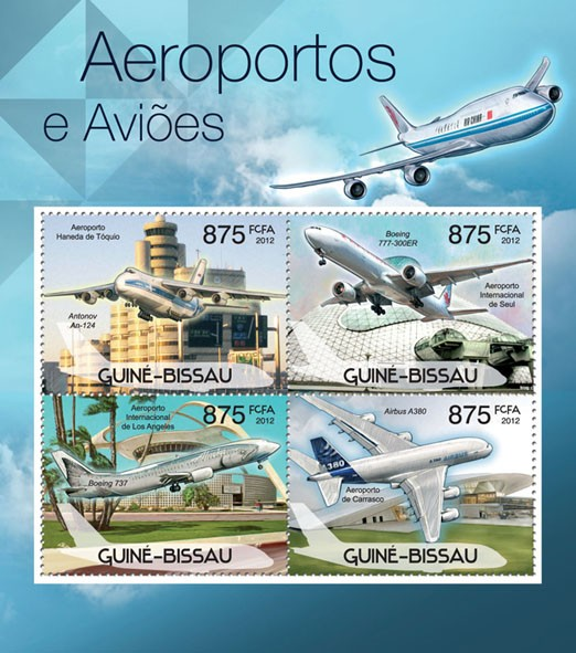 Planes & Airports, (Antonov An - 124, Airbus A380). - Issue of Guinée-Bissau postage stamps