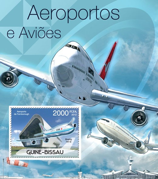 Planes & Airports, (Boejing 747-8). - Issue of Guinée-Bissau postage stamps