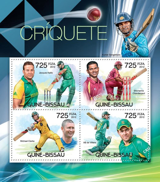 Cricket, (Jacques Kallis, AB de Villers). - Issue of Guinée-Bissau postage stamps