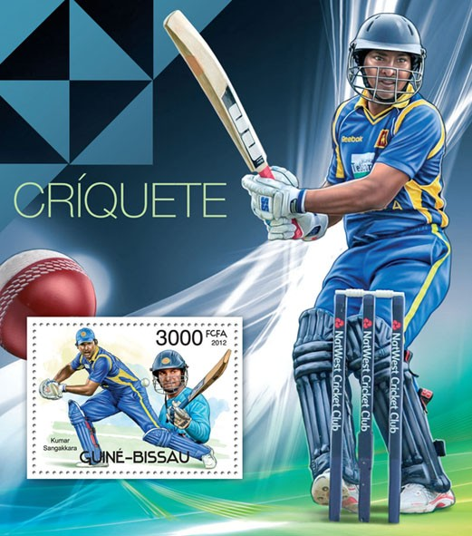 Cricket, (Kumar Sangakkara). - Issue of Guinée-Bissau postage stamps