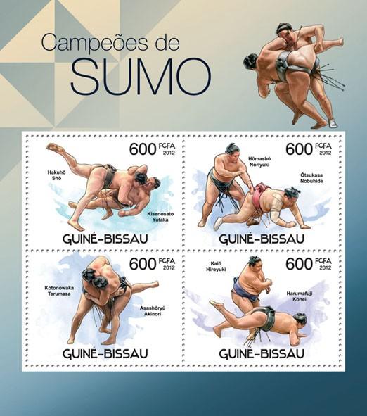 Sumo Champions, (Hakuho Sho, Kisenosato Yutaka). - Issue of Guinée-Bissau postage stamps