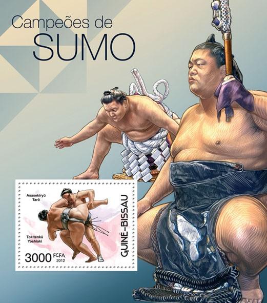 Sumo Champions, (Asasekiryu Taro, Tokitenku Yoshiaki). - Issue of Guinée-Bissau postage stamps
