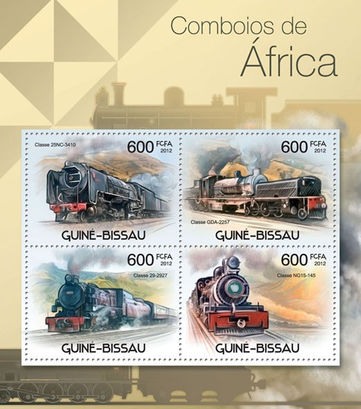 Trains of Africa, (Classe 25NC - 3410, Classe NG15-145). - Issue of Guinée-Bissau postage stamps