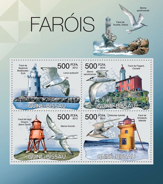 Lighthouses & Birds, (Breatwater EUA, Larus audouinii). - Issue of Guinée-Bissau postage stamps