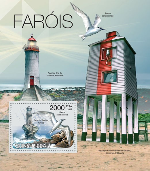 Lighthouses & Birds, (Tourlitis Greece, Sterna sandvicensis). - Issue of Guinée-Bissau postage stamps