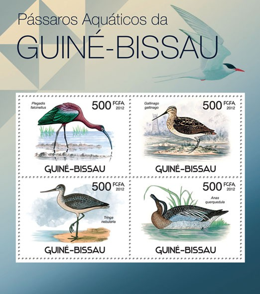 Waterbirds of Guinea Bissau,  (Plegadis falcinellus, Anas quarquedula). - Issue of Guinée-Bissau postage stamps