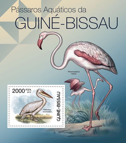 Waterbirds of Guinea Bissau, (Pelecanus onocrotalus). - Issue of Guinée-Bissau postage stamps