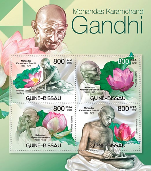 M.K.Gandhi (1869-1948) & Flowers, (Nelumbo nucifera). - Issue of Guinée-Bissau postage stamps