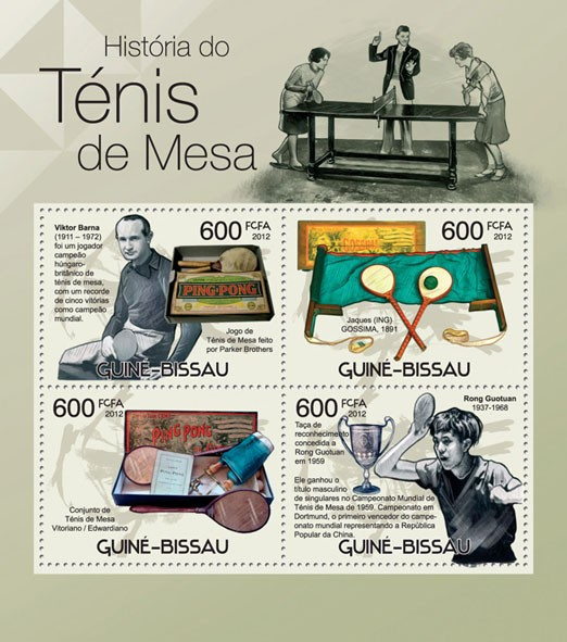 Table Tennis History, (Viktor Barna, Rong Guotuan). - Issue of Guinée-Bissau postage stamps
