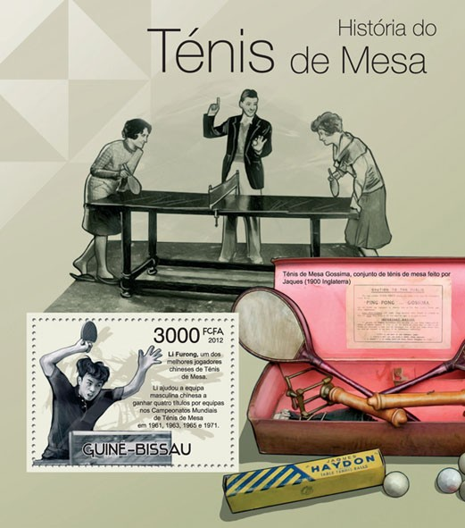Table Tennis History, (Li Furong). - Issue of Guinée-Bissau postage stamps
