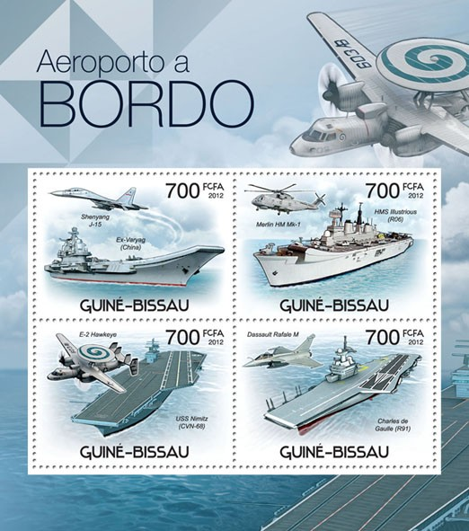 Airports Aboard & Planes, (Shenyang J-15, Ex-Variag). - Issue of Guinée-Bissau postage stamps