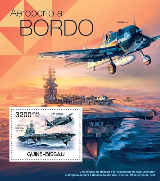 Airports Aboard & Planes, (F4F Wildcat, USS Enterprise CV-6). - Issue of Guinée-Bissau postage stamps