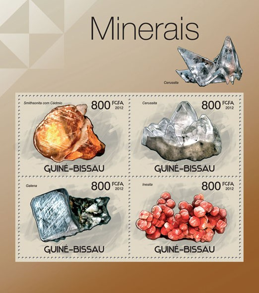 Minerals, (Smithsonita, Inesita). - Issue of Guinée-Bissau postage stamps