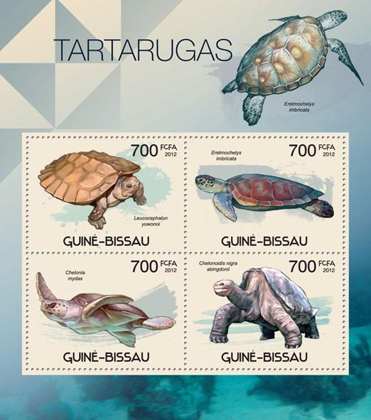 Turtles, (Leucocephalon yuwonoi, Chelonoidis nigra abingdonii). - Issue of Guinée-Bissau postage stamps