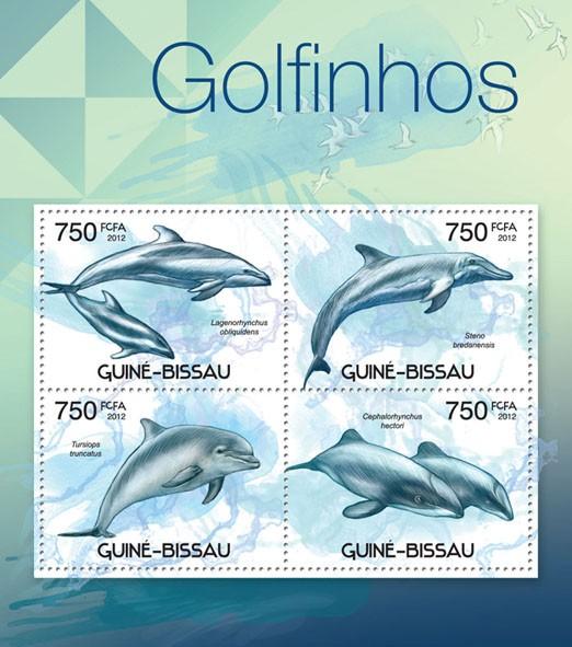 Dolphins, (Lagenorhuchus obliquidens, Cephalorhynchus hectori). - Issue of Guinée-Bissau postage stamps