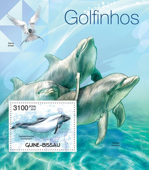 Dolphins, (Cephalorhynchus commersonii). - Issue of Guinée-Bissau postage stamps